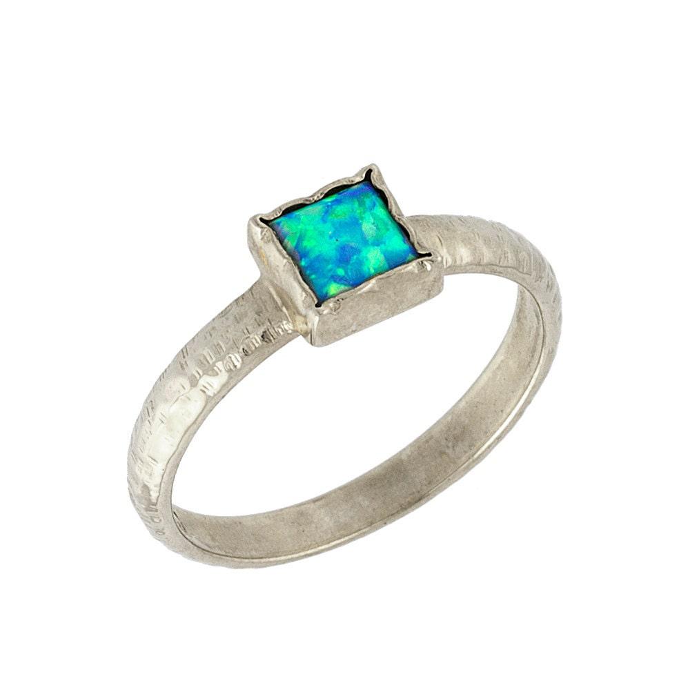 Vintage Hammered Square Opal Engagement Ring 14k White Gold