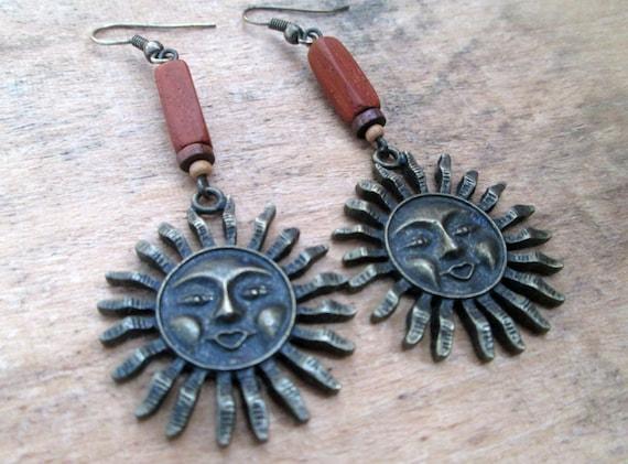 Wood and Bronze Sun Earrings