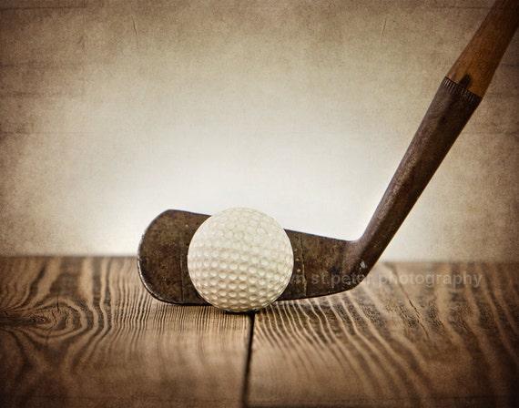 Vintage Golf Club And Ball On Wood Photo PrintDecorating
