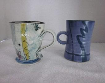 2 vintage handmade mugs