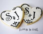 Wedding Cookies, Monogram Wedding Cookies, Monogram Cookies, Heart  Wedding Cookies - 1 Dozen