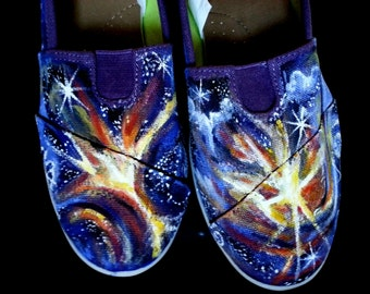 Custom Painted Galaxy Shoes Sneakers  Nebula space Toms Vans Converse or Bongo brand stars  Any size custom color