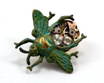 Steampunk Bee Brooch, Clockwork Bee Pin, Steampunk Bug