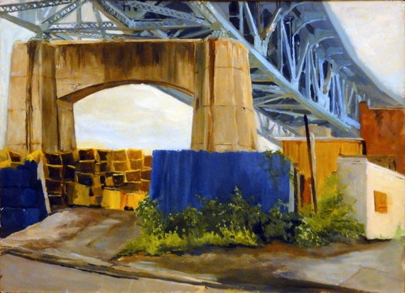 Industrial Brooklyn Cityscape original oil on canvas, Where the Sidewalk Ends,  26x30