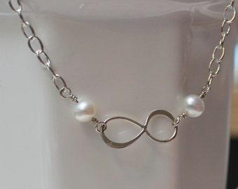 Pearl infinity bracelet