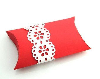 Gift Wrap Pillow Box - Package of 3 - Red, Red Coral, Lace, Wedding Favor, Party Favor, Tiny Box, White, Favor, Jewelry Box, Pillow Envelope