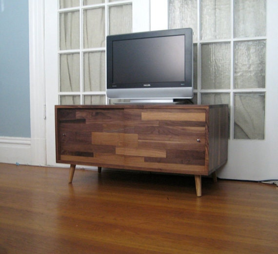 Walnut mid century media console with mix by Modern media console