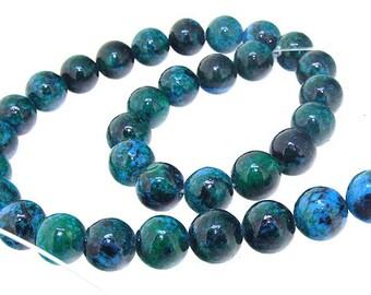 """Round Azurite Chrysocolla Jasper Round Beads Gemstone 12mm beads blue green jasper  Full Strand 15.5"""""""