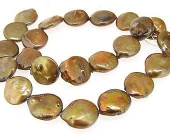 """Coin Freshwater pearl Cultured Pearl Coffee Pearl 12mm Gemstone Beads Full Strand 15"""""""