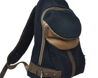Backpack in navy blue canvas -leather , named  Nota