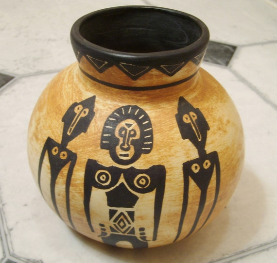 Hand Painted Artist Signed Pottery Andres S African Tribal
