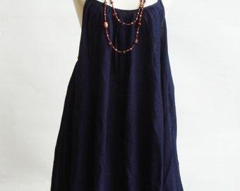 D10, Sea Swan Cotton Dress, Dark Blue Dress