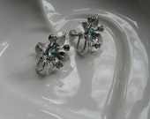 BN Vintage Earrings with Blue Rhinestone Centers