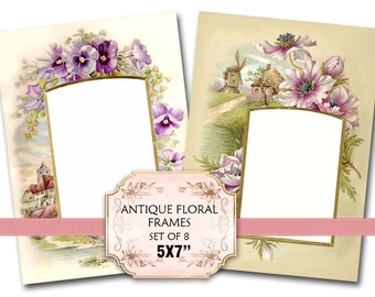 Vintage Florals Photo Album Frames 5 x 7 inch Jewelry holders Journaling tags Scrapbooking Decoupage Craft (339) set of 4 sheets