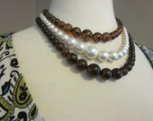 Vintage Faux Amber & Faux Pearl Triple Strand Plastic Bead Necklace