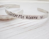 Butterfly kisses silver hand stamped hammered cuff with heart - Lolasjewels