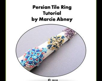 Beadweaving Tutorial Persian Tile Bead Woven Ring in Peyote and Herringbone Beading Beaded Instructions Lessons Jewelry Making PDF DIY