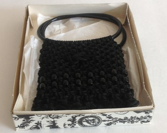 Fabulous Black Macrame Beaded Handbag Purse