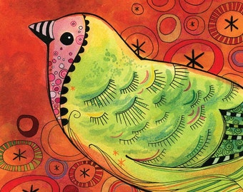 Bird Illustration in Red and Green: Archival print of original illustration available in three sizes