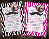 Zebra - We Mustache You To Join Us - 5x7 PHOTO Birthday Invitation