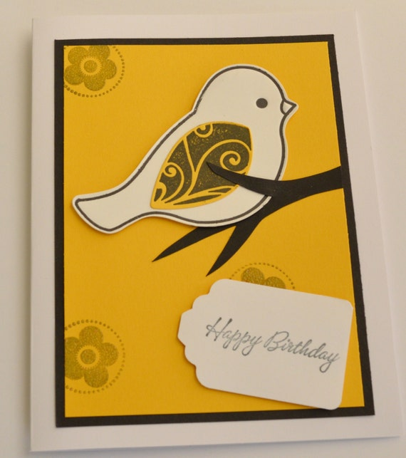 3D Birthday Card Braille Handmade Card Bird On A Branch