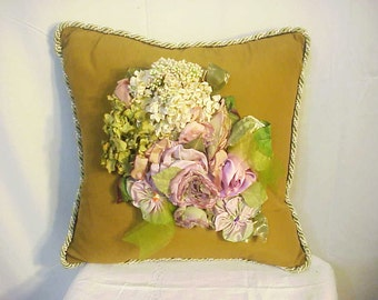 Gorgeous Gold Faille Custom Decorator Pillow/Antique Silk Flowers
