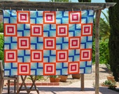 Fire & Ice - A Modern Geometric Single Bed Quilt or Throw  - ready to ship