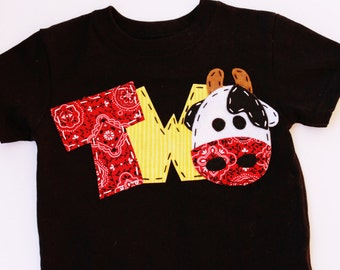 barnyard birthday shirt, two, cow, 2nd,  t shirt, barn yard, farm theme, boy black shirt