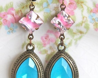 Aqua Blue and Pink Vintage Givre Glass Rhinestone Pear Teardrop Antiqued Drop Dangle Earrings - Wedding, Bridal,Upcycled,Beach,Statement