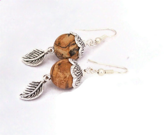 Jasper Earrings with Leaf, Gemstone Earrings, Elegant Earrings, Brown Earrings, Handmade Jewelry