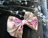 Classic Lolita Spring  Cream and Pink Floral Plain Jane Fabirc Hair Bow Clip-Made or order
