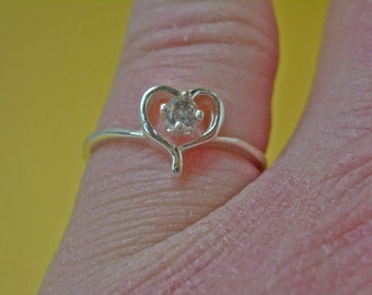 Diamond Ring - Genuine Champagne Diamond & Sterling Silver Heart Ring - Woman's Ring Size 7