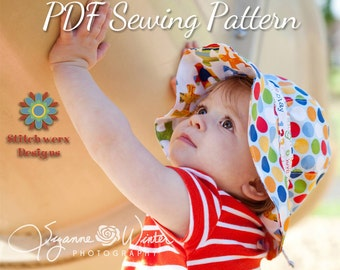 Garden Hat, PDF Sewing Pattern, Sun Hat Pattern, Baby Hat Pattern, Girls Hat Pattern, Wide Brim Hat, Hat Sewing Pattern, Gardening Hat