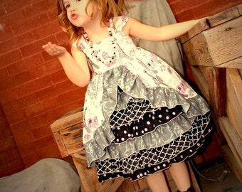 Girls Dress, Paris Dress, Paris Party Dress, Girls Ruffle Dress, Girls Front Ruffle Dress,  Girls Pageant Dress, Toddler Dress, Party Dress