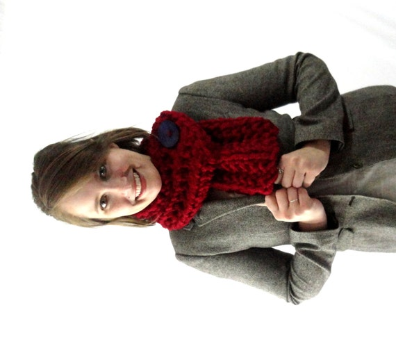 Cranberry Red Chunky Knit Cowl Scarf with Large Purple Button