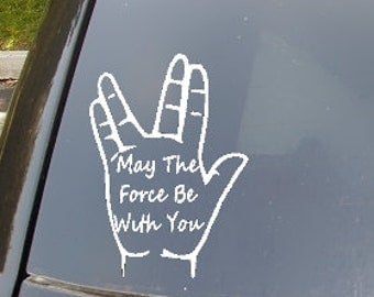 May The Force Live Long Split Family Car Sticker