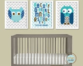 Art for Nursery, ABC Owls - 8.5X11 Inches, Nursery Art. Gift for Baby, Birthday Gift, Play Room Nursery