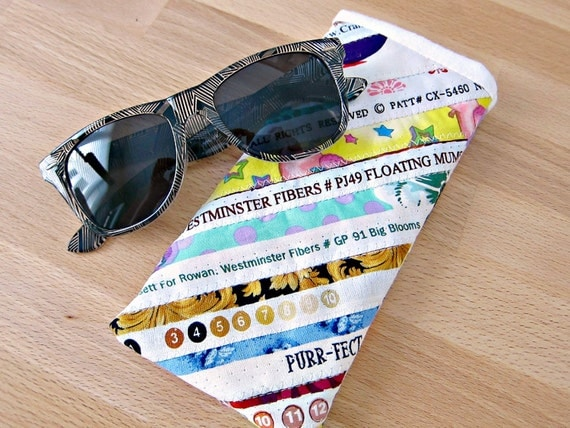Sunglass Eyeglass Case Quilted Upcycled Selvage