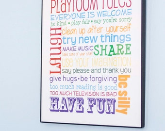 Playroom Rules Personalized Print