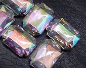 12 Pieces of 13 x 18 mm AB Clear Color  Acrylic Octagon  Rectangle Rhinestone Jewels, Cabochon With Silver Prong , Sew on Setting.