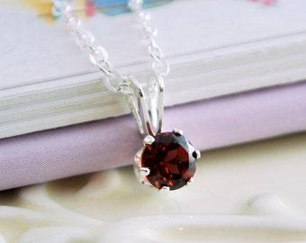 Genuine Garnet Necklace, January Birthstone, January Birthday, Dark Red Gemstone, Sterling Silver Children's Jewelry