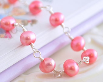 Coral Pink Bracelet, Genuine Freshwater Pearl, Child Children Girl, Sterling Silver Jewelry, Tourmaline Gemstone Heart