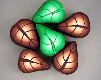 Green and Brown Polymer Clay Leaves