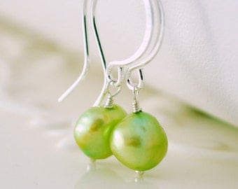 Chartreuse Freshwater Pearl Earrings, Wasabi Lime Green, Simple Drop, Gold or Sterling Silver Jewelry Free Shipping