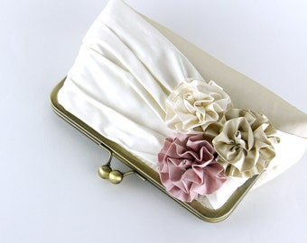 Roses Silk Clutch in Ivory, Champagne and Pink, wedding clutch, wedding bag, bridesmaid clutch, Bridal clutch