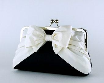 Silk Bow Clutch in Black and Ivory, Wedding clutch, Wedding bag, Bridal clutch, Wedding purse, Bridesmaid clutch
