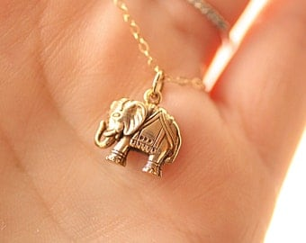 Elephant Necklace, Gold Filled Chain - Golden Bronze Elephant Charm Neckalce - Minimal Everyday Layering Necklace, Yoga Jewelry