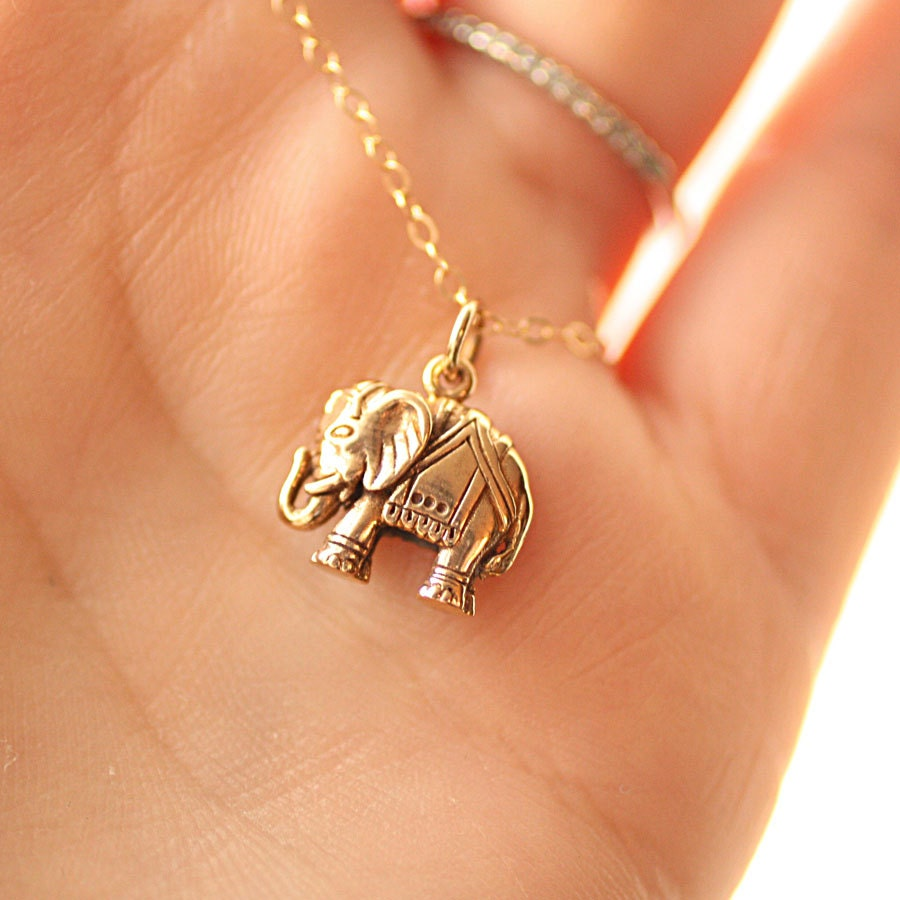 Elephant necklace gold filled chain golden bronze elephant for Gold filled jewelry