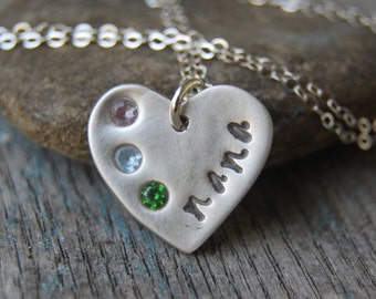 Custom Silver Mom or Grandma Necklace -:- Personalized with Hand-Stamping and Birthstones