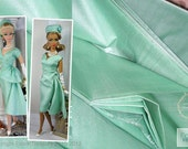 Handwoven Silk Fabric. Ahimsa Silk Fabric. 100% Pure Silk Fabric. Doll Fashion Fabric. Doll Parts. ICE CREAM SHOP collection. Bay Green.